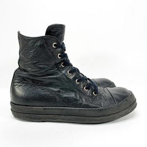 RICK OWENS Genuine Leather Black High Top Boots